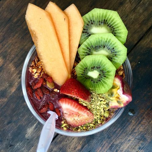 Acai Bowl Breakfast Rockmelon Snack Activeandnourished Açai Close-up Day Food Food And Drink Freshness Fruit Fruit Salad Fruits Goji Green Color Healthy Eating High Angle View Kiwi No People Nutrition Ready-to-eat Table Vegan Wood - Material