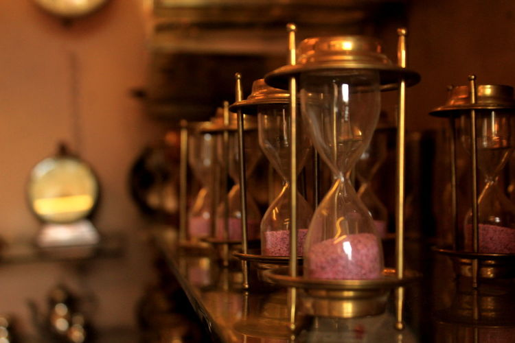 Close-Up Of Hourglasses For Sale In Store