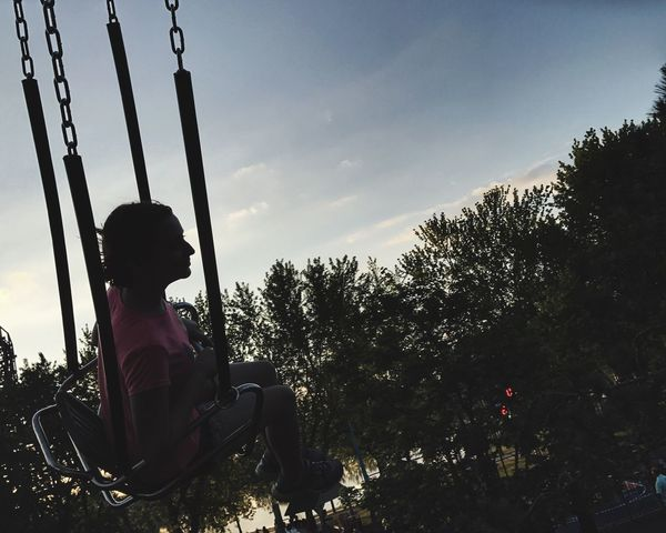 Sitting Tree Childhood One Person Full Length Swing Real People Sky Outdoors Nature Day Rope Swing People Darien Lake Park - Man Made Space Rochesterphotographer Hello World Outdoors. Scenics Sunset Amusement Park Ride
