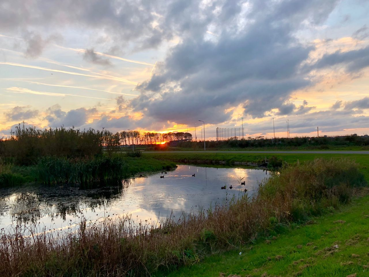 cloud - sky, sky, water, plant, grass, nature, scenics - nature, architecture, built structure, no people, beauty in nature, reflection, tranquility, tranquil scene, sunset, lake, building exterior, environment, outdoors