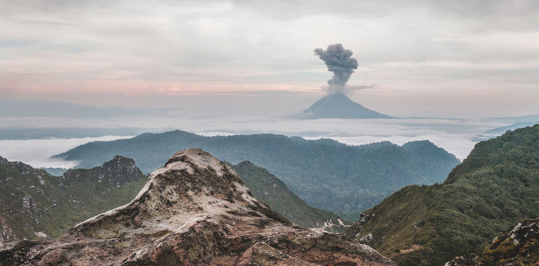 View Of Active Volcano At Dusk