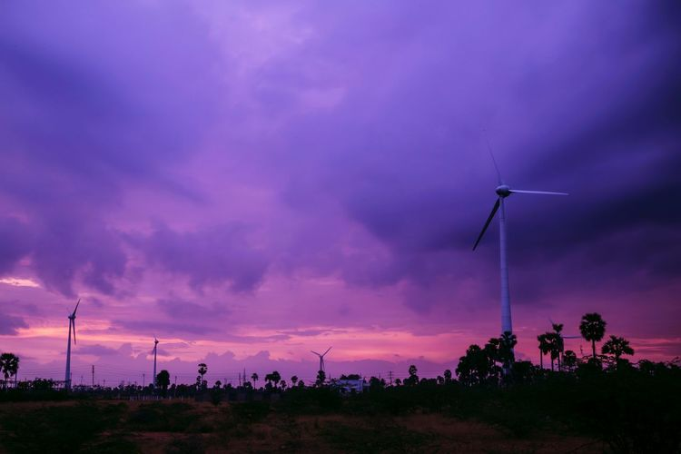 Early Morning Sunrise Windmills Rain Cloudy Day Long Exposure Energy Conservation