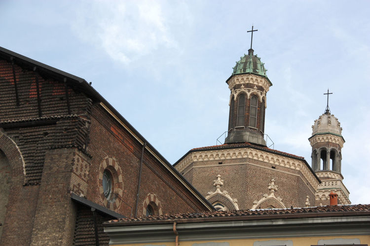 Santa Maria delle Grazie al Naviglio Architectural Detail Architecture Brick Wall Built Structure Church Church Exterior Day Exterior Façade Hystorical Buildings Low Angle View No People Outdoors Sky Tourism Travel Destinations