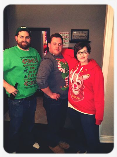 Think thin and you will look thin.. Didn't really workout for us! Lol Uglychristmassweater