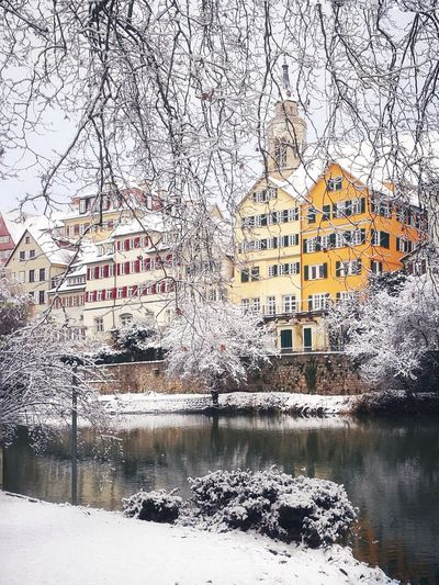 Snow in Tübingen Winter Snow River Houses Historic Church Tower Tadaa Community Enjoying Life Enjoying The Moment Everyday Joy Tranquility Taking Photos EyeEm Best Shots Eye4photography  EyeEm Gallery Eyem Building Exterior Architecture Water Reflection Built Structure Window Outdoors Day No People Nature Shades Of Winter