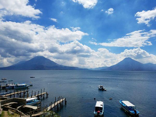 EyeEm Selects Cloud - Sky Landscape Mountain Water Nautical Vessel Outdoors Lake Sky Day Nature Travel Destinations Atitlan Lake Volcano Guatemala Boat Dock
