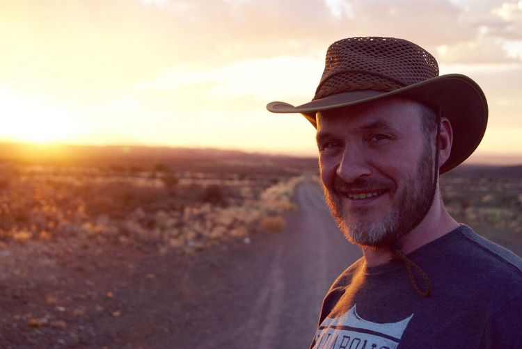 Hat Smiling Sunset Outdoors One Person South Africa The Karoo Just me, enjoying the sunset in the Karoo Live For The Story