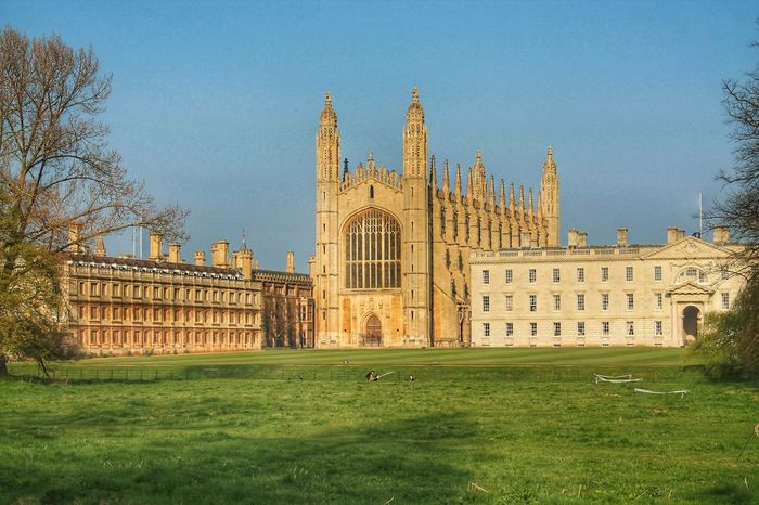 Architecture Building Exterior Built Structure Cambridge Cathedral Chapel Clear Sky College Day England Façade Government Grass Historical Building History King's College Lawn Nature No People Outdoors Park Sky Travel Destinations Uk University
