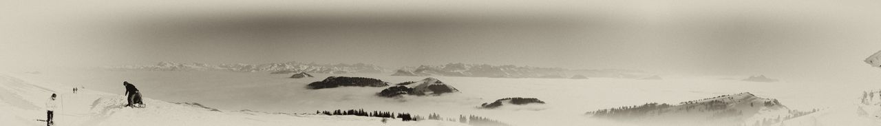 Cold Temperature Filter Fog Landscape Mountain Mountain Range Nature Panorama Pilatus Rigi Rigikulm Sea Of Fog Snow Snowcapped Switzerland Tranquil Scene Tranquility Vintage Winter Black And White Monochrome Nikon Here Belongs To Me The Great Outdoors With Adobe Fine Art Photography
