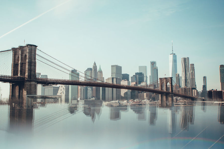 New York New York City Skyline Architecture Building Exterior Built Structure City Clear Sky Day Modern Nature No People Outdoors Reflection Sky Skyscraper Tall Travel Destinations Urban Skyline Water Waterfront