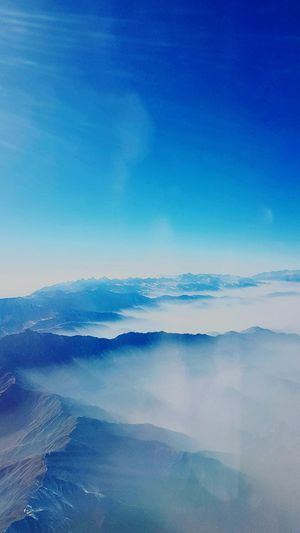Blue Landscape Nature Sky Fog Beauty In Nature Cloud - Sky Scenics High Up Outdoors No People