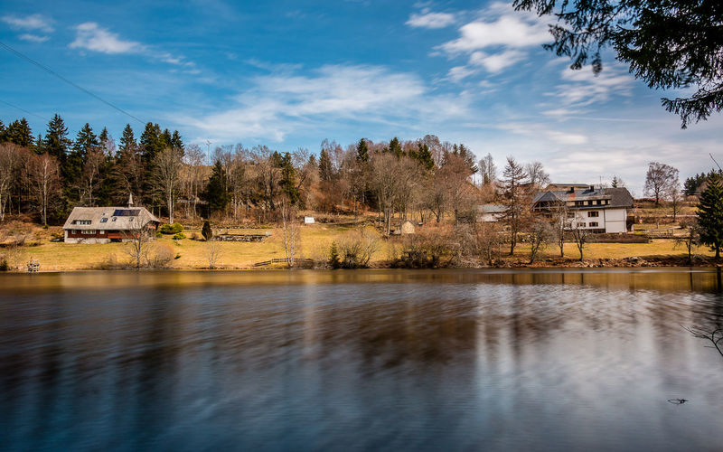 Der Klosterweiher in Dachsberg März 2016 Architecture Beauty In Nature Black Forest Blue Cloud Cloud - Sky Idyllic Klosterweiher Lake Landscape Langzeitbelichtung Long Exposure Nature No People Outdoors Reflection Schwarzwald Sky Tree Water Waterfront