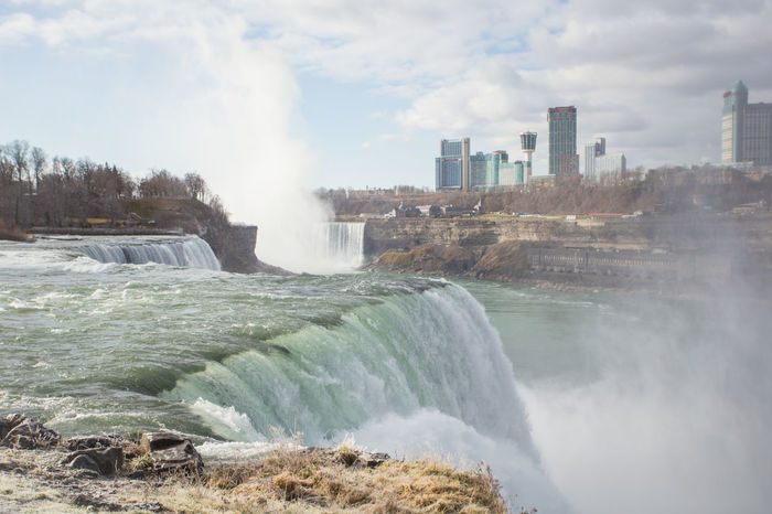 Beauty In Nature Cloud Cloud - Sky Cloudy Day Flowing Flowing Water Idyllic Motion Nature Niagara Falls No People Outdoors Power In Nature Rock Rock - Object Rock Formation Scenics Sky Splashing Tourism Travel Destinations Water Waterfall Wave