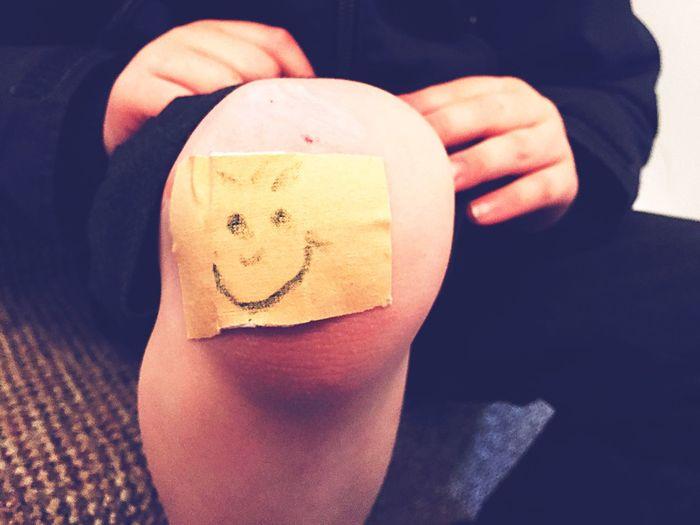 Sore Knee Plaster Smiley Face Child Childhood Grazed Knee