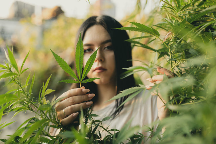 Portrait of young woman holding leaf of cannabis plant