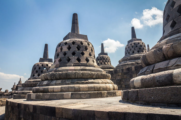 Old Borobudur Temple Borobudur Borobudur Temple INDONESIA Stupa Buddhism Jogjakarta Java Architecture Built Structure Spirituality Religion Sky History Place Of Worship Belief The Past Travel Destinations Ancient Building Travel Tourism Day No People Nature Ancient Civilization Stone Material Outdoors Archaeology Ornate