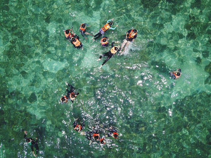 High angle view of people swimming in sea