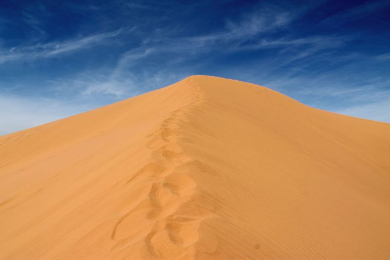 Low angle view of sand dune at sahara desert against sky
