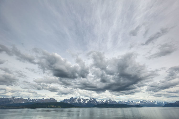 Beauty In Nature Cloud Sea And Sky Cloudscape Cloudy Lyngen Alps Dramatic Sky Hiking Hiking Adventures Idyllic Landscape Majestic Lyngsalpan Mountain Range Nature Non Urban Scene Northern Norway Outdoors Remote Scenics Sea Ultra Wide Angle Ultra-wide Angle Water Weather The Great Outdoors - 2017 EyeEm Awards