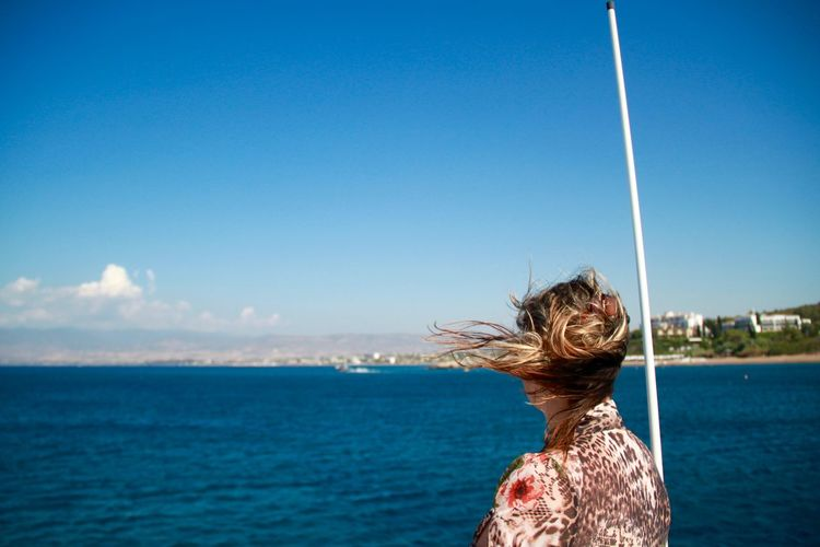Cyprus Hair Holidays Mediterranean  Summertime Travelling Woman Adult Adults Only Blue Horizon Over Water Nature One Person One Woman Only Only Women Outdoors People Sea Sky Water Wind Yacht Yachting Inner Power Visual Creativity Summer Exploratorium