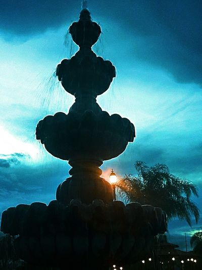 Blue hour Fountain... Silhouette Wayer Fountain Refreshing :) NiteLife Palm Trees Clouds & Sky