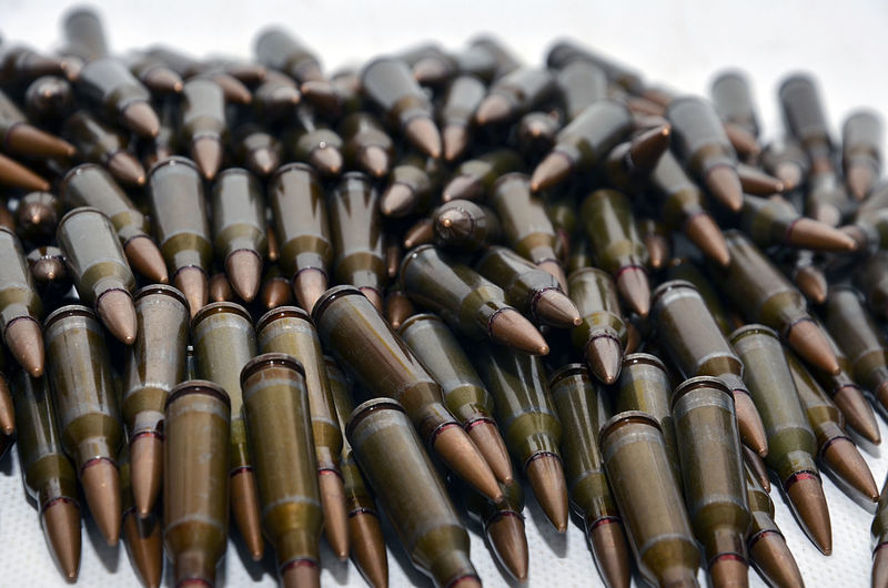 Close-up of bullets on table