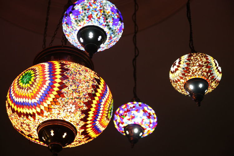 Colourful Lamps Hanging Indoors  Lighting Equipment Lights Multi Colored