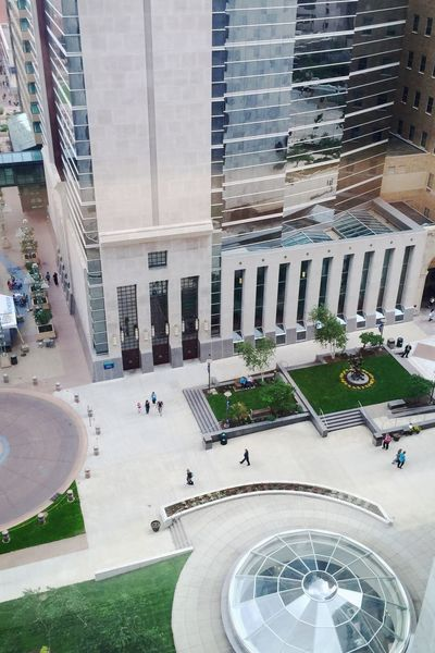 Looking down at Peace Plaza in Rochester, MN Iphonephotography Architecture Architecturelovers Buildings & Sky Reflections #A Bird's Eye View