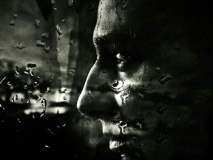 I Am Monochrome Salfie Portrait Art Black And White Rain Light