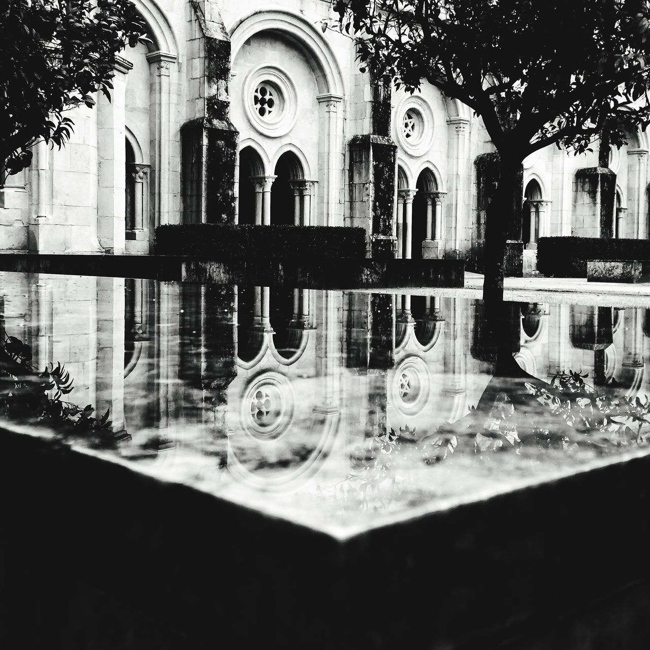 reflection, building exterior, architecture, built structure, no people, building, water, day, waterfront, outdoors, arch, city, transparent, nature, pond, religion, puddle, belief, place of worship, digital composite, ornate