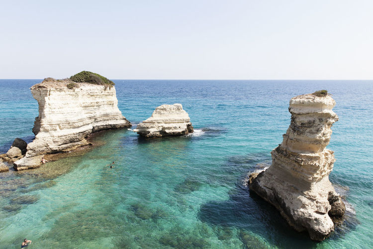 Puglia South Italy Beach Beauty In Nature Blue Clear Sky Horizon Over Water Idyllic Nature Otranto Rock - Object Rock Formation Scenics Sea Sky Torre Sant'andrea Tranquil Scene Tranquility Travel Destinations Water