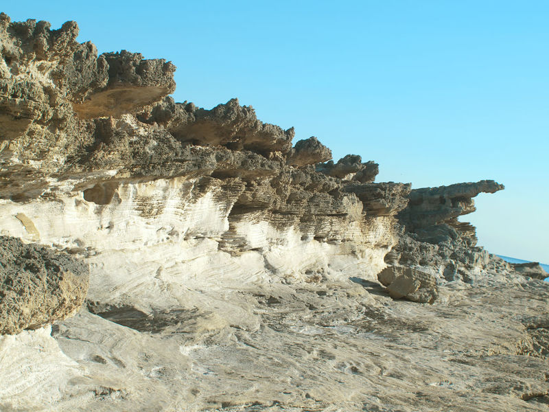 Beach Beauty In Nature Clear Sky Coastline Day Eroded Fossil Geology Landscape Layered Nature No People Outdoors Rock - Object Rock Formation Scenics Sea