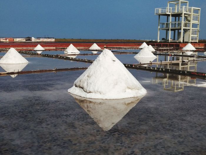 Salt - Mineral Salt Basin Industry Factory Water Heap Mining Sky