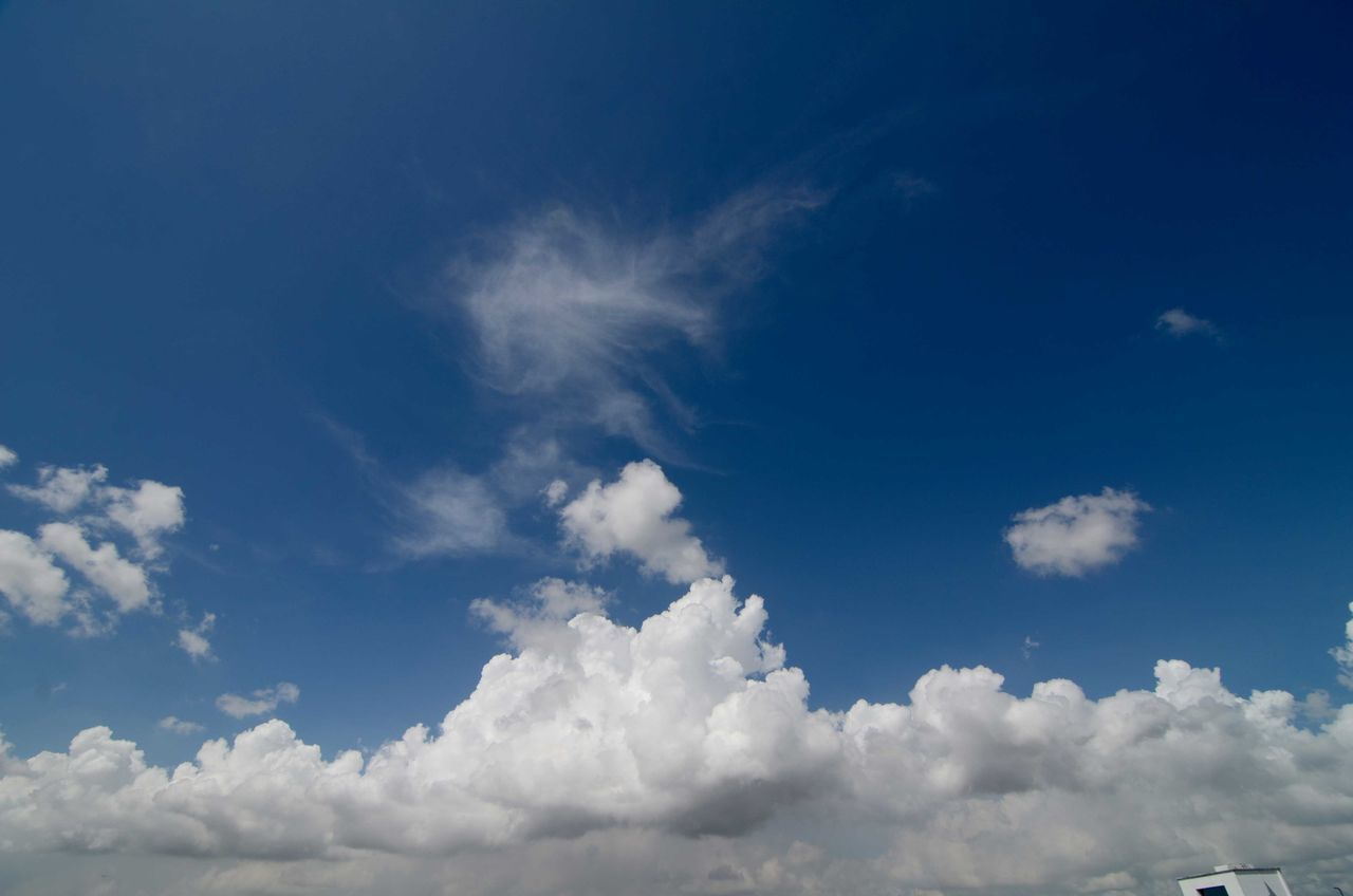 cloud - sky, sky, nature, beauty in nature, blue, sky only, tranquility, scenics, white color, backgrounds, no people, low angle view, day, outdoors, tranquil scene