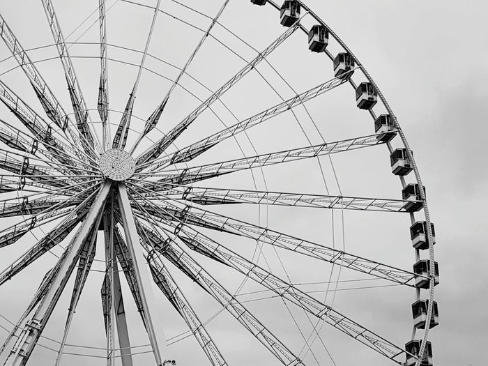 Blackandwhite Paris France Metal Fun Ferris Wheel Amusement Park Ride Arts Culture And Entertainment Amusement Park Circle Sky Ride Large Oversized Big Wheel 17.62°