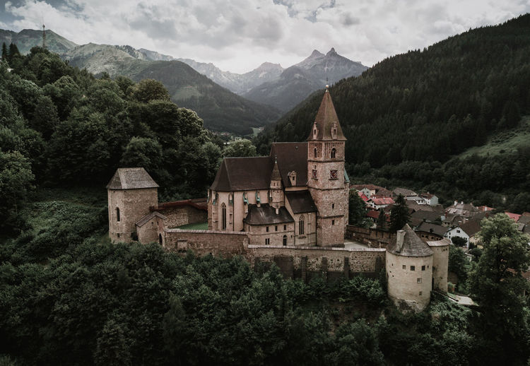 old castle in good condition in austria drone aerial photo