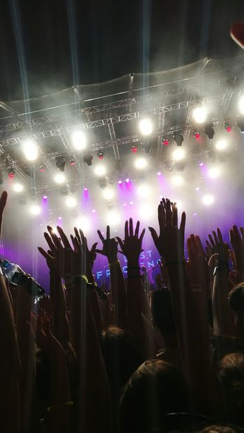 Festival Festival Vibes Lights EXIT Festival Lost Frequencies Love Summer Of Love 2017 EyeEm Best Shots Night Nightlife Shot Arms Raised Arms In The Sky Bracelet Singing Photo Purple White Colorful