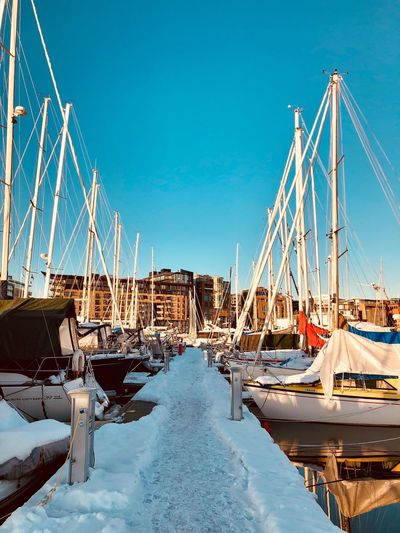 Winter storage of boats #iPhone #iphonex #Iphoneography #snow #Winter #norway #Oslo #Boats Blue Transportation No People Outdoors Day Clear Sky Sky