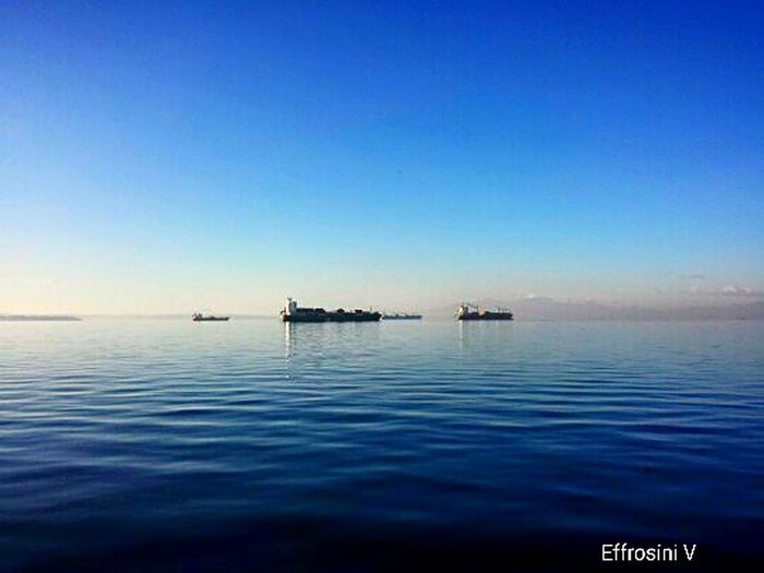 Sea Water Horizon Over Water Clear Sky Tranquility Blue Reflection Day Beauty In Nature Sky City Samsung Galaxy S4 Phone