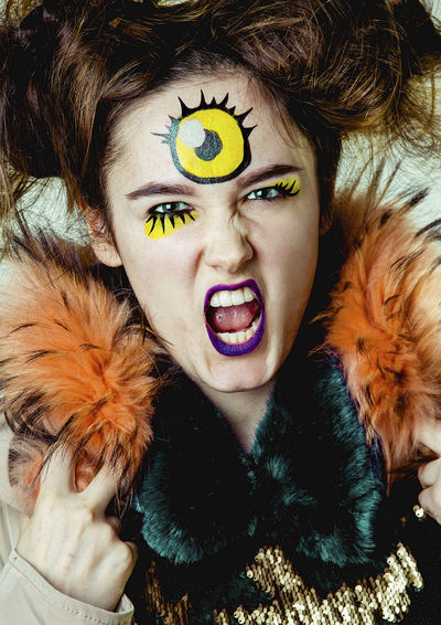 Angry Makeup Three Eyes Adult Adults Only Beautiful Woman Close-up Cyclops Day Headshot Indoors  Looking At Camera Moster Mythology One Person One Woman Only One Young Woman Only Only Women People Portrait Screaming Young Adult Young Women