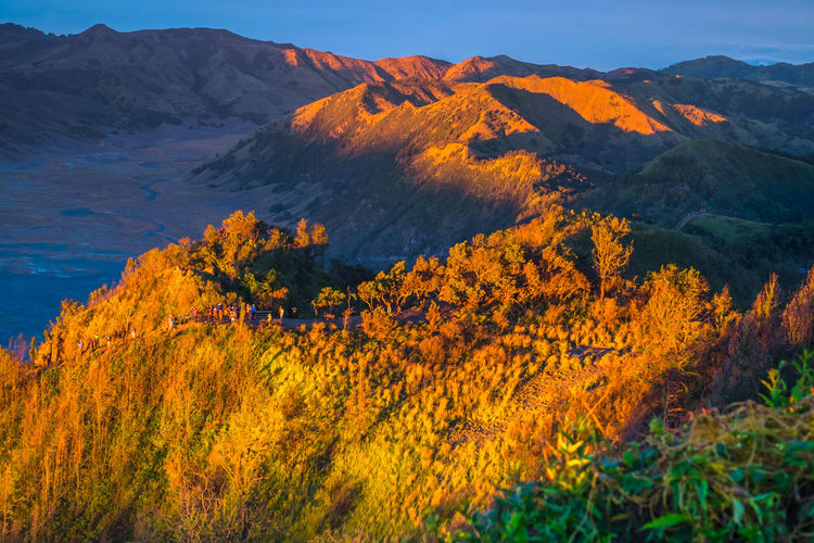 Scenic view of autumn mountain against sky