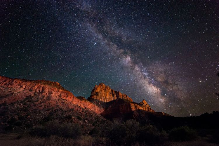 Astro Photography Astronomy Beauty In Nature Canyon Galaxy Illuminated Landscape Milky Way Mountain Nature Night Night Photography No People Outdoors S Sky Space Star - Space Stars Utah Watchman Zion National Park First Eyeem Photo