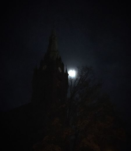 Spooky Brandenburg Church Moon Night Architecture Built Structure Building Exterior Building Illuminated Dark No People Religion Low Angle View Silhouette Place Of Worship Outdoors Spooky