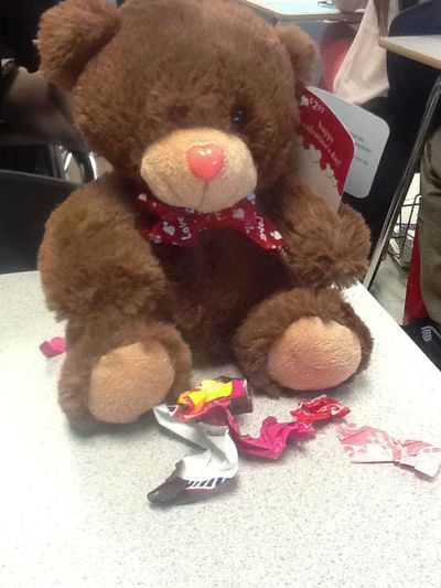 My bestie got me a bear and some candy but we see what happen to the candy-_- but I love her and thank you pumpkin!!!