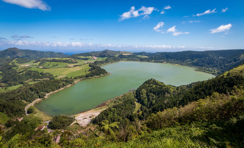 Lagoa das Furnas, Açores, Portugal Açores Furnas Green Nature Portugal Sao Miguel Travel Beauty In Nature Blue Cloud - Sky Day Lagoon Lake Landscape Mountain Nature Non-urban Scene Outdoors Plant Scenics - Nature Sky Tranquil Scene Volcanic Landscape Water