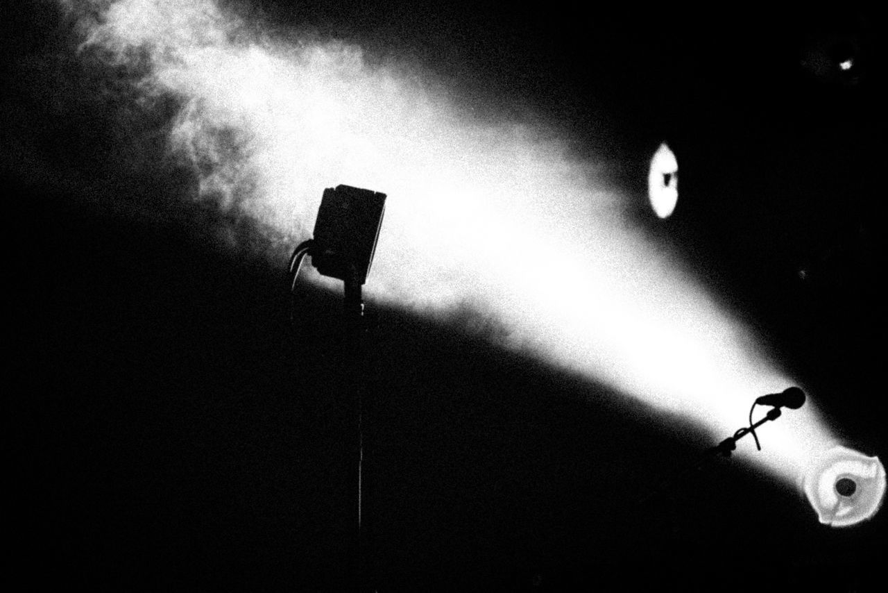Close-Up Of Microphone In Darkroom