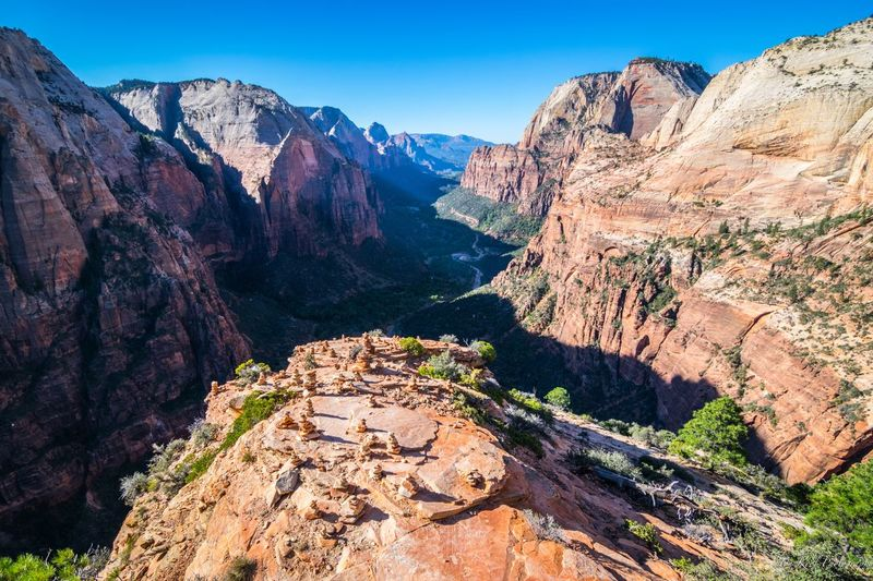 Angels landing Angels Landing Zion National Park USA EyeEm Selects Mountain Scenics - Nature Beauty In Nature Nature Sky Mountain Range Tranquil Scene Rock Rock - Object Non-urban Scene Tranquility Solid Landscape Tree Rock Formation Environment Travel Destinations Plant Travel Sunlight
