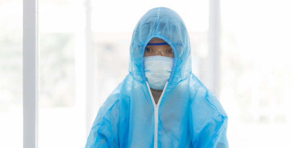 Woman wearing protective clothing
