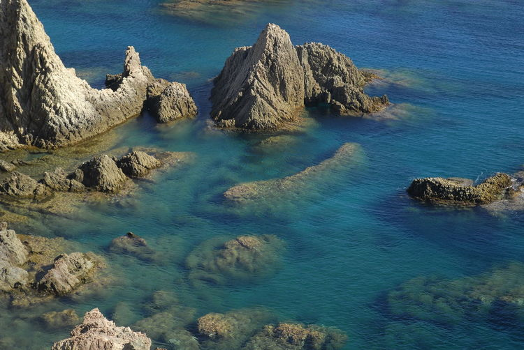 High angle view of rock formations in sea