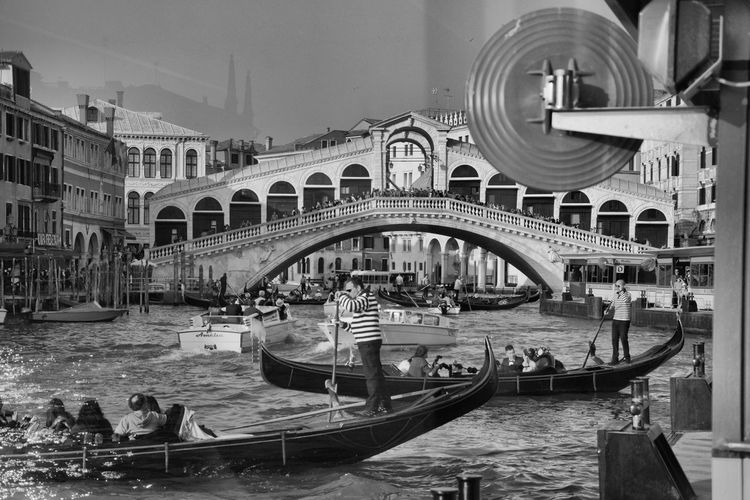 Rialto Bridge Reflection Nikon OpenEdit Italy Italia Veneto Venezia Venezia Italia Travel Destinations Travel Photography Blackandwhite Black And White Gondola - Traditional Boat Nautical Vessel Water Gondolier Canal Architecture